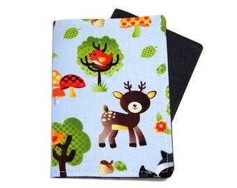 Passport Cover - Woodland Animals Deer on Light Blue
