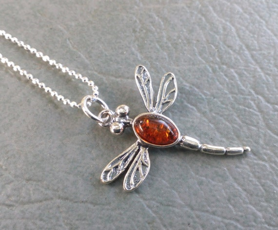 Baltic Amber & Sterling Dragonfly