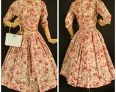 1960s Pink Floral Party Dress with Bows - Full Skirt - Pink and Green