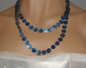 Long Necklace, MOP Necklace, Blue Necklace, Shell Necklace, Double Strand, Mother of Pearl, Navy Blue, Sapphire, Gift Idea