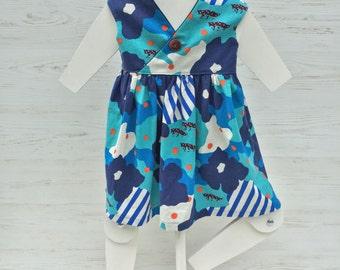polka dot fox dress, sizes 2T 3T 4T 5 6