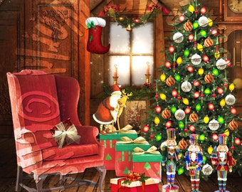 American Girl Doll OOAK Teddy Bear And Doll Artist Christmas Background Scene For doll house accessories furniture