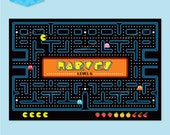 PAC MAN Party Backdrop Poster Printable - Customised PDF