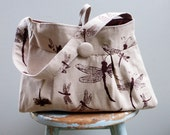 Dragonfly Hobo  -- Key Hook -- 3 Slip Pockets - Button closure with Loop - Hand printed