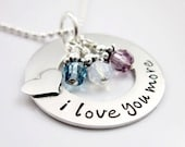 I Love You More Necklace - Personalized Necklace - Birthstone Jewelry - Sterling Silver Heart Necklace - Gift For Her, Mom Grandma Necklace