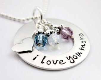 Personalized Necklace - I Love You More Necklace - Heart Necklace - Birthstone Jewelry - Gift for Mother - Daughter Gift - Girlfreind Gift