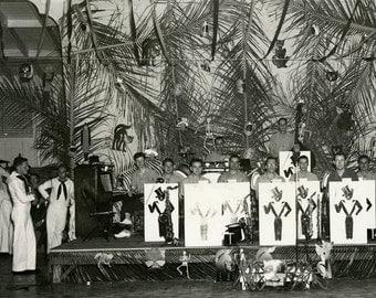 vintage photo 1944 Sailors Halloween Black Cat Jazz Band Tropical Party