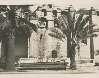 vintage photo 1921 San GAbriel Mission San Luis Rey California Bells Palm Trees