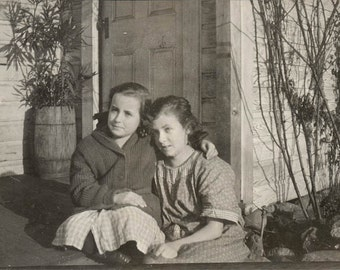 vintage photo 1920 Little Girls Sit on the Porch Embrace Sweet Love