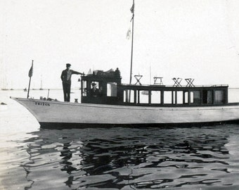 vintage photo 1908 Provincetown Mass Excursion Boat Capt