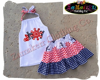 Custom Boutique Clothing Girl Halter Skirt Anchor Outfit Set Summer Birthday Size 3m 6m 9m 9 12 18 24 month 2 2T 3 3T 4T 4 5T 5 6 7 8