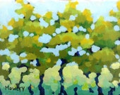 Green on Green - original abstract acrylic landscape painting of a trees and midsummer ennui by Barb Mowery