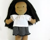 Waldorf doll clothes 14, 15, 16 inch reversible skirt and white lace trimmed top