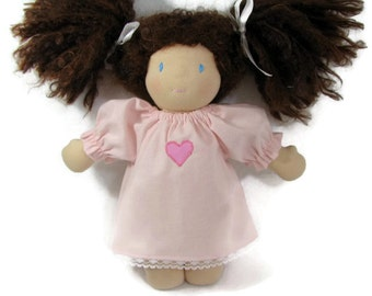 10 inch 12 inch Waldorf doll nightgown, light pink cotton nightgown for your doll
