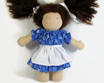 Waldorf doll clothes 10 inch doll bright blue snowflake dress with white apron, cotton doll clothing