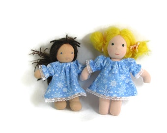 6 to 8 inch Waldorf doll cotton flannel nightgown, cotton doll nightie in blue snowflakes