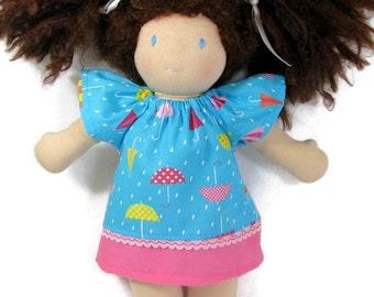 10 inch 12 inch Waldorf Dress, blue pink handmade Doll Dress,  cotton doll dress, 10 in doll clothes, soft doll dress