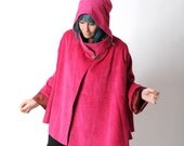 Pink cord cape, Hot pink hooded cape in wide corduroy, Fall fashion, Goblin Hood Cape with flared sleeves, Winter clothing MALAM, Size UK 14