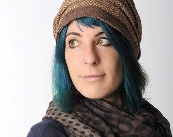 Brown womens hat, Brown chevron hat, Supple brown hat, Brown winter hat,