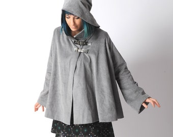 Grey cord cape, Grey hooded cape in wide corduroy, Fall fashion, Goblin Hood Cape with flared sleeves sz Uk 8 to 10