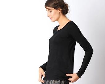 Long black jersey top, long narrow sleeves, black supple womens top, Black long sleeved t-shirt, Womens black top