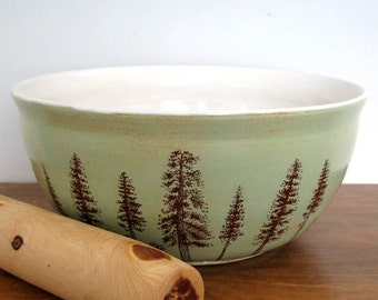 Large Ceramic  Bowl - Pine Trees  - 10 cups -  Hand Thrown Stoneware Pottery