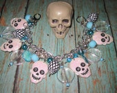 Skull Charm Bracelet Day of The Dead Jewelry Dia De Los Muertos Halloween Accessory Spooky Cute Fun Blue Silver Chunky Punk Rock Goth Large