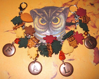 Fall Charm Bracelet Autumn Jewelry Owl Leaves Red Yellow Orange Brown Fall Colors OOAK Statement Piece Adult Teen Tween