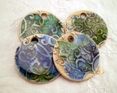 4 Boho Beads, Ceramic and Glass Beads, Round Beads, Recycled Glass on Clay, Clay Beads, Pottery Beads