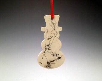 Ceramic Snowman Christmas Ornament, Horse Hair Raku Ornament, Horsehair Raku Pottery, Raku Pottery,