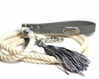 Wedding Rope Leash - Engraved Wedding Leash with Leather handle - Metallic Gray