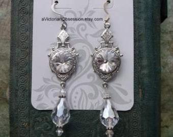 Crystal Chandelier Crystal drop silver earrings