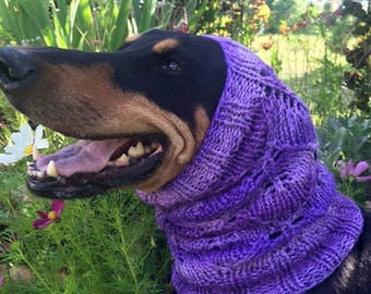 Hand knitted Snood for Dog - Ultra Violet / Purple - Winter Dog Snood with lacey leaf pattern - M to XL Dog - Purple - Lace Design