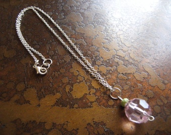 Girly Girl Pink Lucite and Gaspeite Silver Plated Chain necklace
