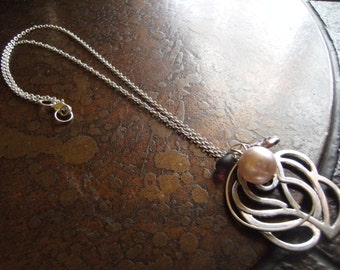 Mauve Beauty Budding Rose Pearl Plastic and Czech Glass Silver Plated Chain necklace