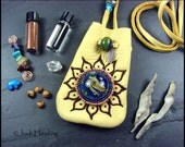Deerskin Leather and Lampwork  - Medicine Bag and Healing Kit - Indigo Fires
