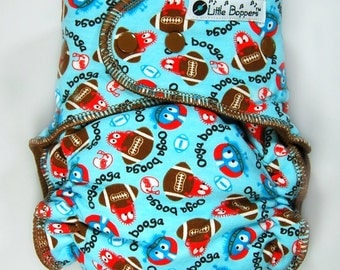 Ready to Ship One Size Cloth Diaper AI2 WindPro - OS Wind Pro All in Two Cloth Nappy - Football Ooga Booga - Windpro Hybrid Diaper - Instock