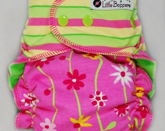 Cloth Diaper AI2 Made to Order - Combo Stripes and Vines Floral - You Pick Size Style -Custom Cloth Nappy AI2 Pink Yellow Lime Striped