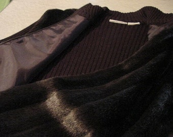 Vintage Brown Sweater Top, jacket Faux Fur zip front LARGE   Classic nordic Winter Lagenlook woodland Resort Apres Ski dark mori casual