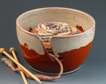 Yarn Bowl in Pumpkin & Cream - READY TO SHIP