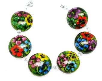 Green flower button sra Lampwork beads, Handwork Beads - Lampwork beads, Glass beads , lampwork glass bead, lampwork, glass, handemade beads