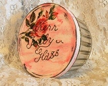 upcycled full cup antique angel base vintage kerr jelly glass jar washed pinks with roses metal lid shabby chic cottage repurposed