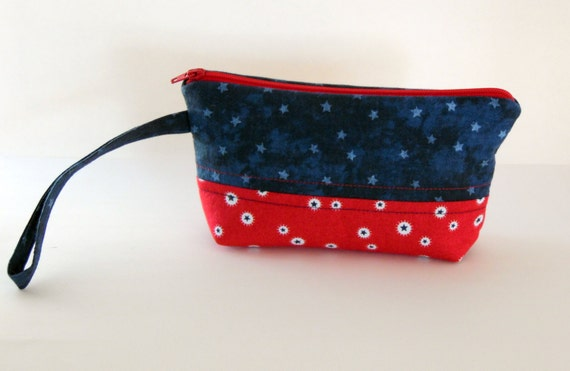 Americana Wristlet, Red and Blue Stars Wristlet, Patriotic Wristlet, iPhone6+, Samsung 5/6 Carryall Wristlet