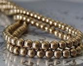 Bronze Czech Glass Bead Metallic 4mm Round Druk - 100 pc Bronze 4mm Druk