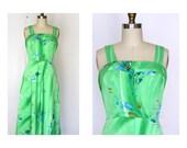 Vintage 70's Maxi Dress Flower Power Water Color Green Tropical Hawaiian Dress Sz M