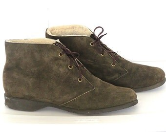 Vtg. Fur Lined Chukka Boots Brown Suede Hush Puppies Mens 10.5 Womens 9.5