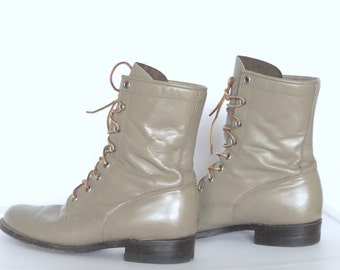 Justin Combat Boots Womens Sz 8 Netural Leather Lace Up Boots  Vintage 90s High Top Boots