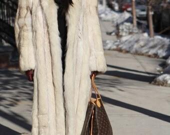 oversized vintage 80's arctic full length long fox fur coat jacket shaggy chubby fluffy huge collar cream white  jacket