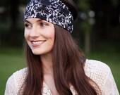 Black, White Swirls Print Stretchy Headbands for Women