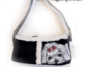 Maltese Hand Painted Handbag Shearling Suede Purse Dog Art by SugarspiceArt
